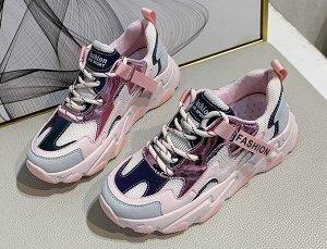 """Женские кроссовки на платформе, надпись """"Fashion"""", цвет белый/розовый"""