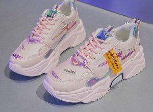 """Женские кроссовки на платформе, надпись """"Fashion"""", цвет розовый"""