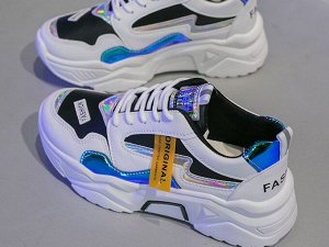 """Женские кроссовки на платформе, надпись """"Fashion"""", цвет белый/черный/синий"""