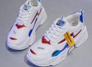 """Женские кроссовки на платформе, надпись """"Fashion"""", цвет белый/синий/красный"""