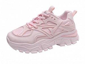 Женские кроссовки на платформе, цвет нежно-розовый