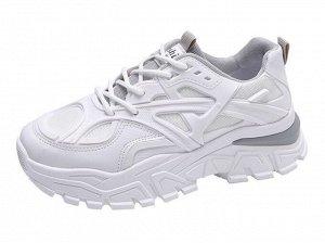 Женские кроссовки на платформе, цвет белый/серый
