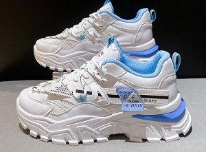 Женские кроссовки на платформе, с мелкими надписями, цвет белый/голубой
