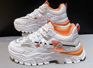 Женские кроссовки на платформе, с мелкими надписями, цвет белый/оранжевый