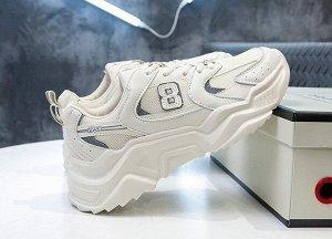 """Женские кроссовки на платформе, принт """"8"""", цвет бежевый"""