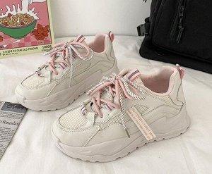 Женские кроссовки с двухцветными шнурками,цвет бежевый/розовый