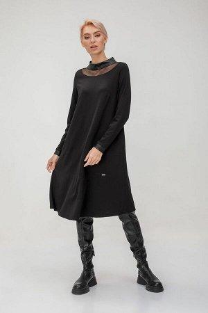 Платье Платье прямого кроя с кожаным воротником. Эта модель станет отличным дополнением к уютным осенним образам. - Свободный крой - Длина миди - Застежка на молнию Состав 84%вискоза, 12%нейлон, 4%:эл
