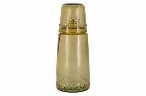 Бутылка для воды 1л со стаканом 0,22 л Natural Water, коричневые