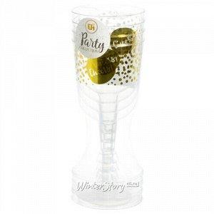 Пластиковые бокалы для вина Фейерверк с крупными блестками 18 см, 4 шт, 180 мл (Koopman)