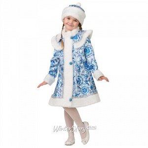 Карнавальный костюм Снегурочка Гжель с шапочкой, рост 140 см (Батик)