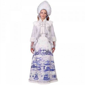 Карнавальный костюм для взрослых Снегурочка Лазурная, белая, 48 размер (Батик)