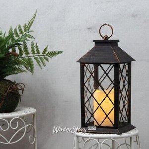 Фонарь Братья Гримм со светодиодной свечой, 29*14*14 см, черный, сеточка, батарейка (Koopman)