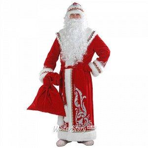 Карнавальный костюм для взрослых Дед Мороз с аппликациями, красный, 54-56 размер (Батик)