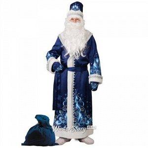 Карнавальный костюм для взрослых Дед Мороз сатиновый с аппликациями, синий, 54-56 размер (Батик)