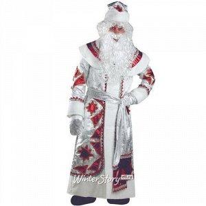 Карнавальный костюм для взрослых Дед Мороз серебряно-красный, 54-56 размер (Батик)