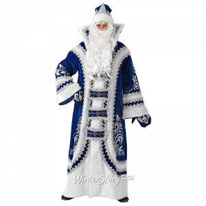 Карнавальный костюм для взрослых Дед Мороз Купеческий синий, 54-56 размер (Батик)