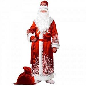 Карнавальный костюм для взрослых Дед Мороз сатиновый с аппликациями, красный, 54-56 размер (Батик)