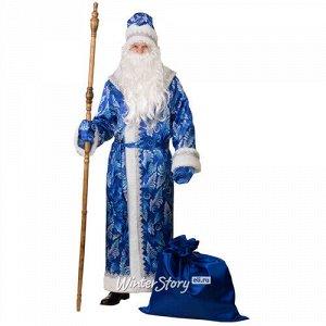 Карнавальный костюм для взрослых Дед Мороз сатиновый с принтом, синий, 54-56 размер (Батик)