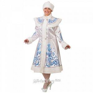 Карнавальный костюм для взрослых Снегурочка, сатиновый с аппликациями, белый, 48-50 размер (Батик)