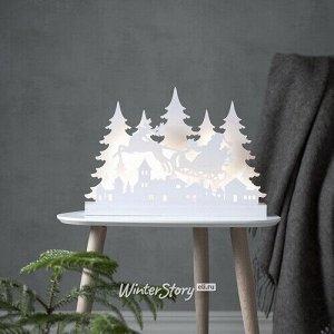 Новогодний светильник Magically Wood: Санта на санях 42*30 см, 36 теплых белых LED ламп, на батарейках (Star Trading)