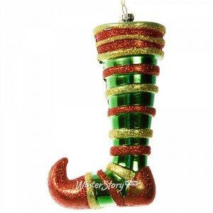 Елочная игрушка Рождественский носок Эльфа 15 см, пластик, подвеска (Царь Елка)