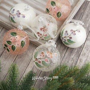 Набор стеклянных шаров Мадридские ягоды 8 см, 6 шт (Kaemingk)