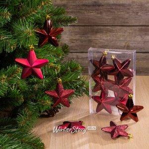 Набор елочных игрушек Бордовые Звезды 8 см, 6 шт, подвеска (Kaemingk)