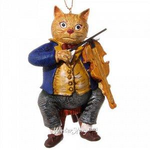Елочная игрушка Кот-Скрипач, 9 см, подвеска (ShiShi)