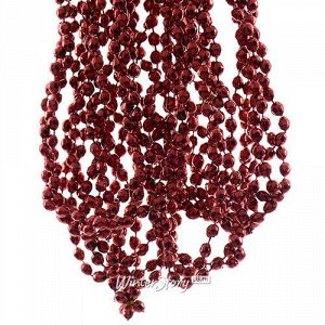 Бусы на елку Алмазная Россыпь 270 см бордовые, пластиковые (Kaemingk)