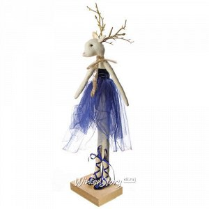 Декоративная фигурка Олень - Леди Эвелин в сапфировом бархатном платье 30 см (Due Esse Christmas)