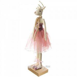 Декоративная фигурка Олень - Леди Эвелин в лиловом бархатном платье 30 см (Due Esse Christmas)