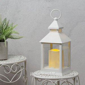Фонарь Готика со светодиодной свечой 24 см белый, батарейка (Koopman)