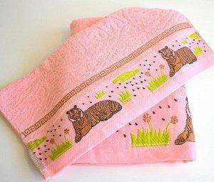 """Махровое полотенце """"Саванна""""-розовый 50*100 см. хлопок 100%"""