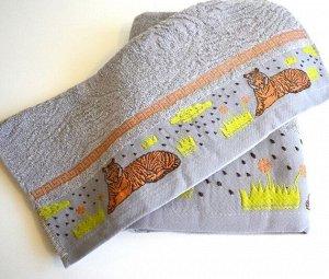 """Махровое полотенце """"Саванна""""-серый 50*100 см. хлопок 100%"""