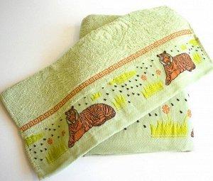 """Махровое полотенце """"Саванна""""-зеленый 50*100 см. хлопок 100%"""