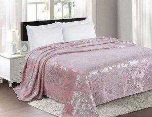 """Плед велсофт Премиум """"Вензель"""" розовый-серебро 150*200 см."""