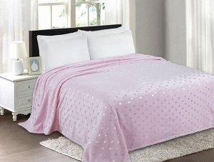 """Плед велсофт Премиум """"Сердечки"""" розовый-серебро 150*200 см."""