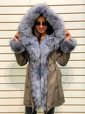 Парки с финским мехом чернобурой финской лисицей