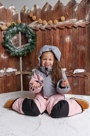 Комбинезон Colour block зима grey-pink