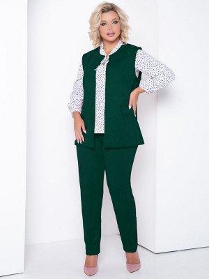 Костюм Стильный костюм, состоящий из жилета и прилегающих брюк на резинке из искусственной замши на трикотаже.. - жилет прямого силуэта - однотонная расцветка - полочка с имитацие