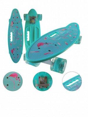 Скейтборд с ручкой и принтом колеса свет Фламинго
