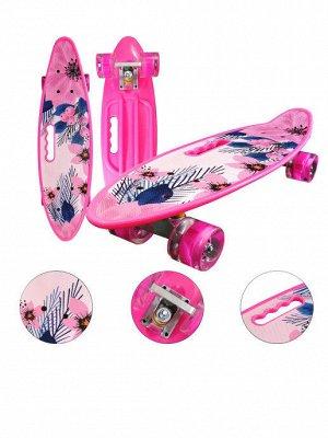 Скейтборд с ручкой и принтом колеса свет Цветы
