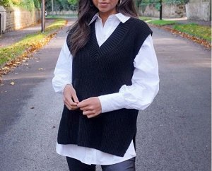 Женский жилет, цвет черный