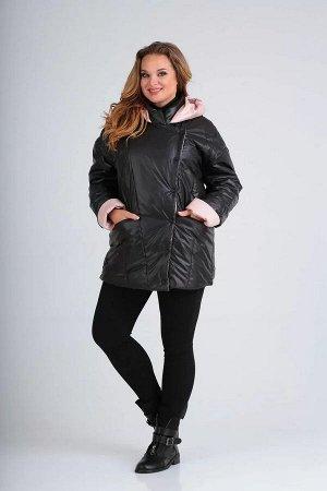 Куртка Куртка женская прямого силуэта со смещённой застёжкой на кнопки. Боковой шов смещён на перед . По переду рельефные швы от плечевого до низа, в боковой части в шве подреза обработаны карманы . П