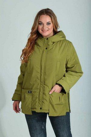 Куртка Куртка женская , прямого силуэта , с центральной застёжкой на тесьму - молнию и планку с кнопками. По спинке средней шов . По переду в верхней части обработаны отделочные рамки с листочкой. Нак