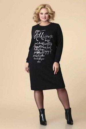 Платье Платье женское предназначено для повседневной носки. Платье полуприлегающего силуэта, длиной за колено. Перед с двумя нагрудными вытачками, декорирован принтом. Спинка с двумя талиевыми вытачка