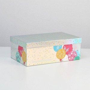 Коробка прямоугольная иридисцентная «С Днем Рождения», 32.5 х 20 х 12.5 см