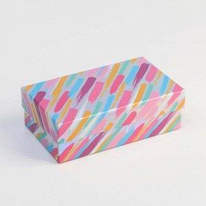 Коробка прямоугольная иридисцентная «С Днем Рождения», 12 х 7 х 4 см