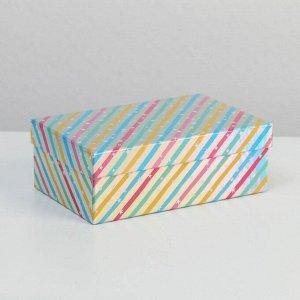 Коробка прямоугольная иридисцентная «С Днем Рождения», 15 х 9.5 х 5.5 см