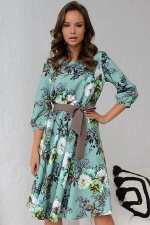 Платье 425/9, мята/цветы